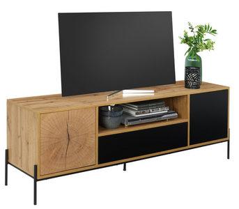 MEDIABÄNK - svart/ekfärgad, Design, metall/träbaserade material (160/55/40cm) - Carryhome