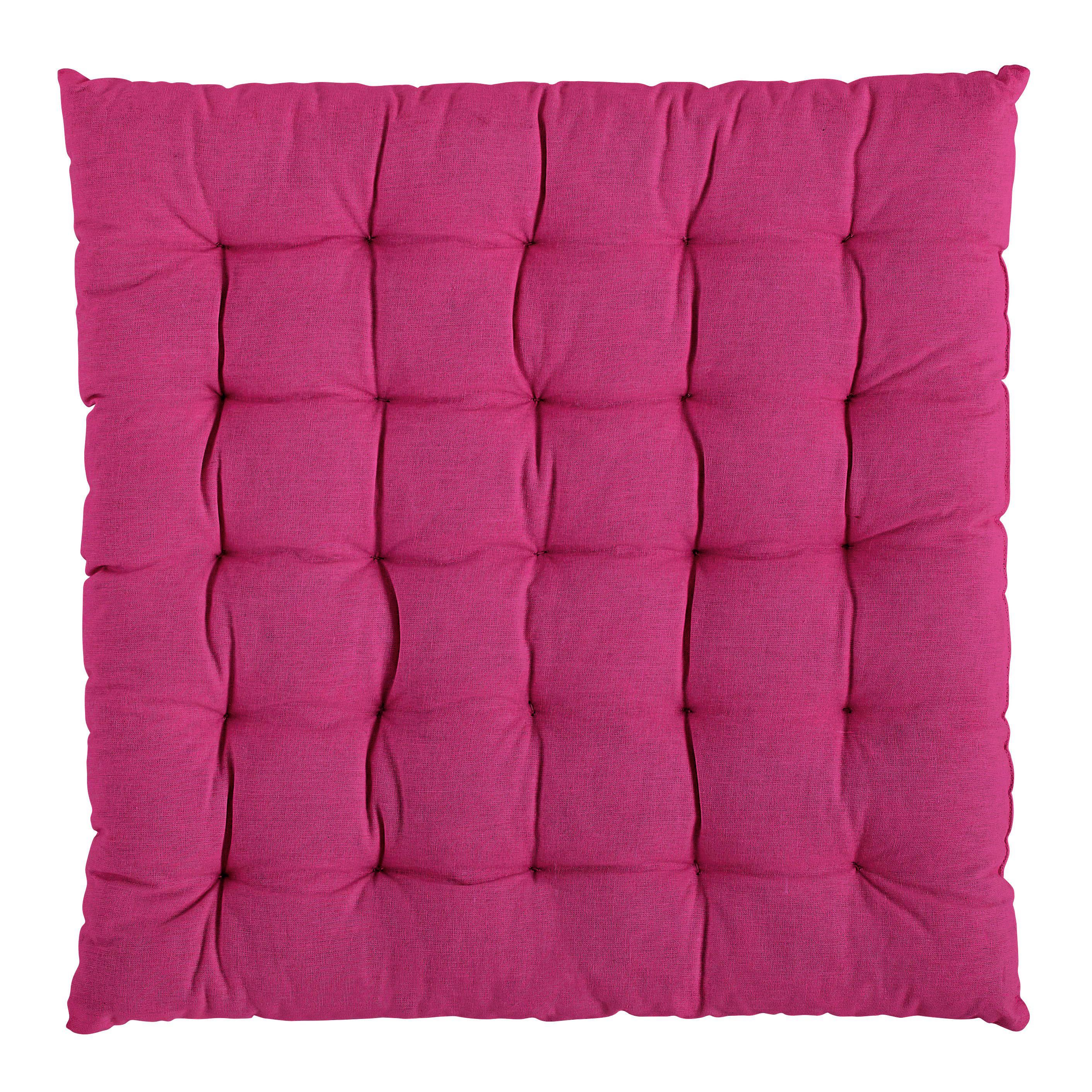 4 Sitzkissen 44x47 cm in cremeweiß mit Bindebändern waschbar Kissen Stuhlkissen
