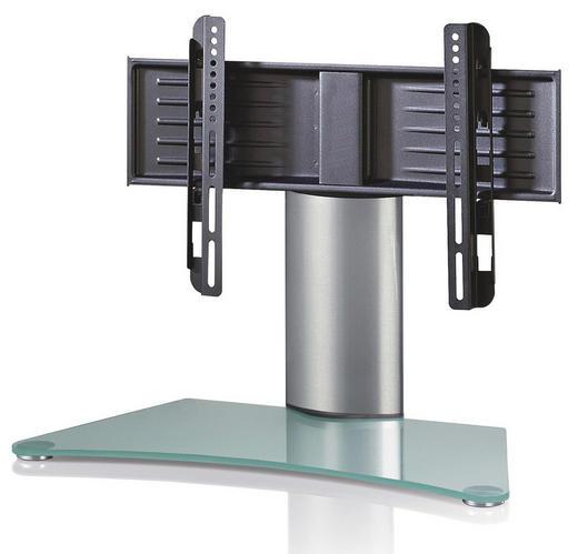 TV-RACK Klar, Silberfarben - Klar/Silberfarben, KONVENTIONELL, Glas/Metall (70/52/30cm)