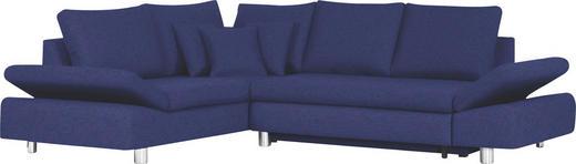 Ecksofa Blau Bettkasten, Rückenkissen, Schlaffunktion, Zierkissen - Blau/Chromfarben, Design, Textil/Metall (222/283cm) - Carryhome