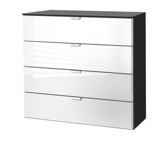 KOMMODE Graphitfarben, Weiß  - Graphitfarben/Alufarben, KONVENTIONELL, Glas/Metall (80/80/42cm) - Carryhome