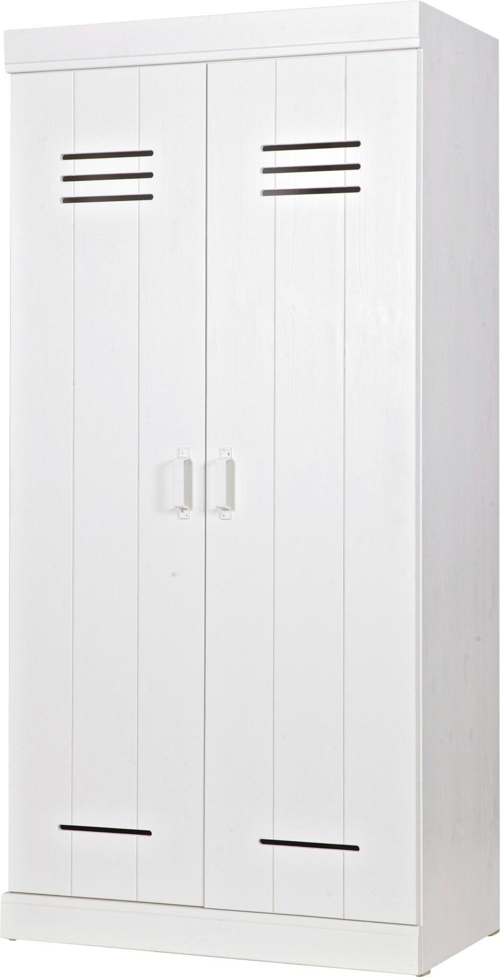 KLEIDERSCHRANK 2  Türig Kiefer Massiv, Teilmassiv Weiß   Weiß, ROMANTIK /  LANDHAUS,