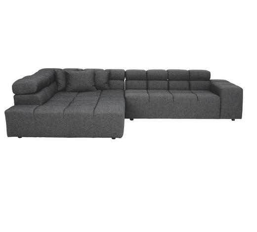 WOHNLANDSCHAFT in Textil Dunkelgrau - Dunkelgrau/Schwarz, Design, Kunststoff/Textil (213/317cm) - Hom`in