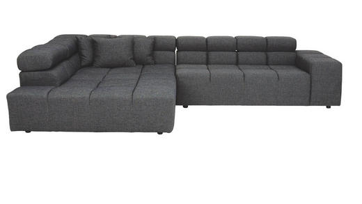 WOHNLANDSCHAFT Grau Zierkissen - Schwarz/Grau, Design, Kunststoff/Textil (213/317cm) - Hom`in