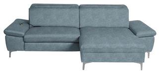 WOHNLANDSCHAFT in Textil Hellblau  - Chromfarben/Hellblau, Design, Textil/Metall (261/164cm) - Hom`in
