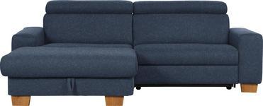 WOHNLANDSCHAFT in Dunkelblau Textil - Eichefarben/Dunkelblau, Design, Textil (178/262cm) - Hom`in