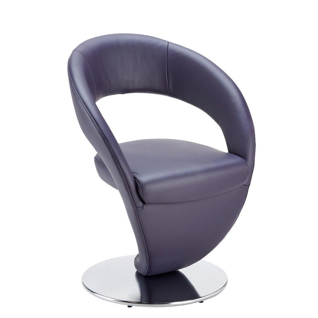 Moderano Stuhl echtleder edelstahlfarben