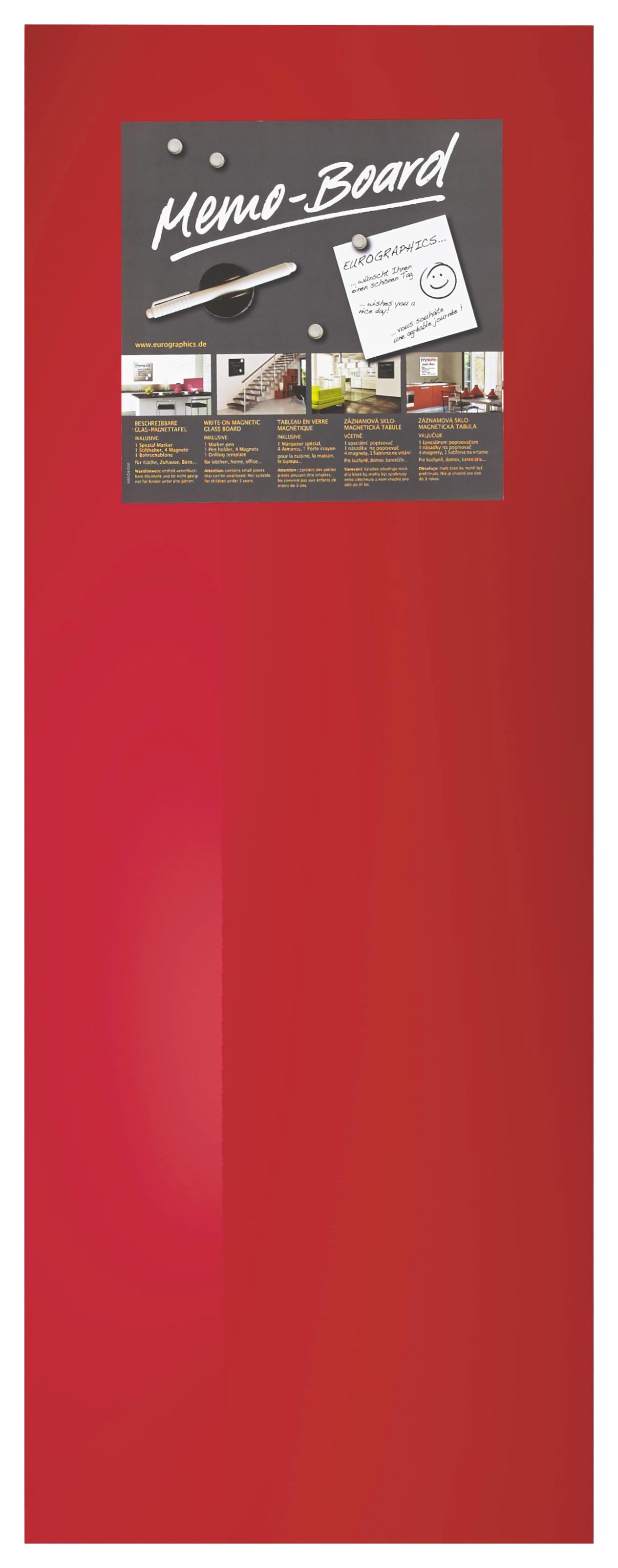 MEMOBOARD - röd, Basics, metall/glas (30/80cm) - EUROGRAPHICS