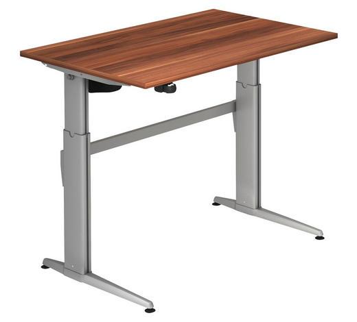 SCHREIBTISCH - Silberfarben/Zwetschgefarben, KONVENTIONELL, Holzwerkstoff/Metall (120/72-119/80cm)