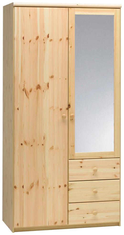 KLEIDERSCHRANK 2  -türig Kiefer massiv Kieferfarben - Kieferfarben, Design, Glas/Holz (97/200/62cm) - CARRYHOME