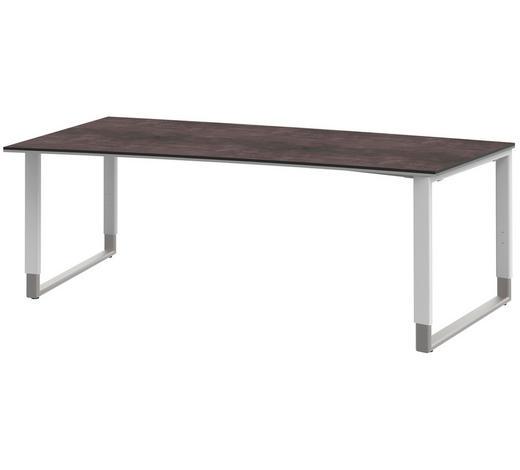 SCHREIBTISCH - Alufarben/Weiß, Design, Holzwerkstoff/Metall (200/68 (82)/100cm)