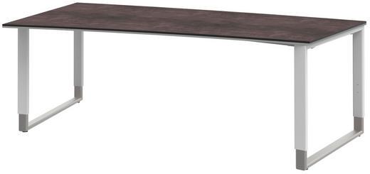 SCHREIBTISCH Alufarben, Grau, Weiß - Alufarben/Weiß, Design, Metall (200/68-82/100cm) - Moderano
