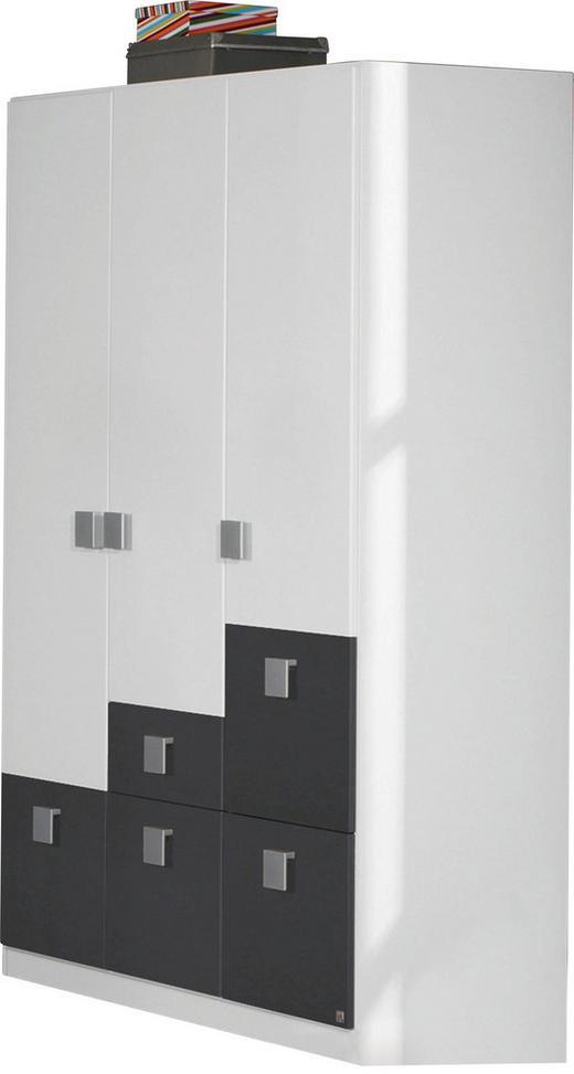 KLEIDERSCHRANK 3  -türig Grau, Weiß - Weiß/Grau, Design, Holzwerkstoff/Kunststoff (136/197/54cm) - Carryhome