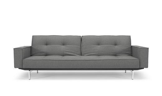 SCHLAFSOFA Grau - Chromfarben/Grau, Design, Textil (243/79/115cm) - Innovation