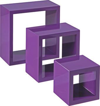 SET STENSKIH REGALOV - vijolična, Design, leseni material (28/24/20/28/24/20/12cm) - Boxxx