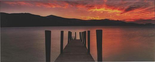 Landschaft & Natur, Sonnenuntergang, Stege GLASBILD - Multicolor, Basics, Glas (125/50/2cm) - Eurographics