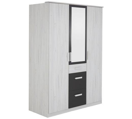 DREHTÜRENSCHRANK Graphitfarben, Weiß - Graphitfarben/Weiß, Design, Glas/Holzwerkstoff (135/199/58cm) - Carryhome