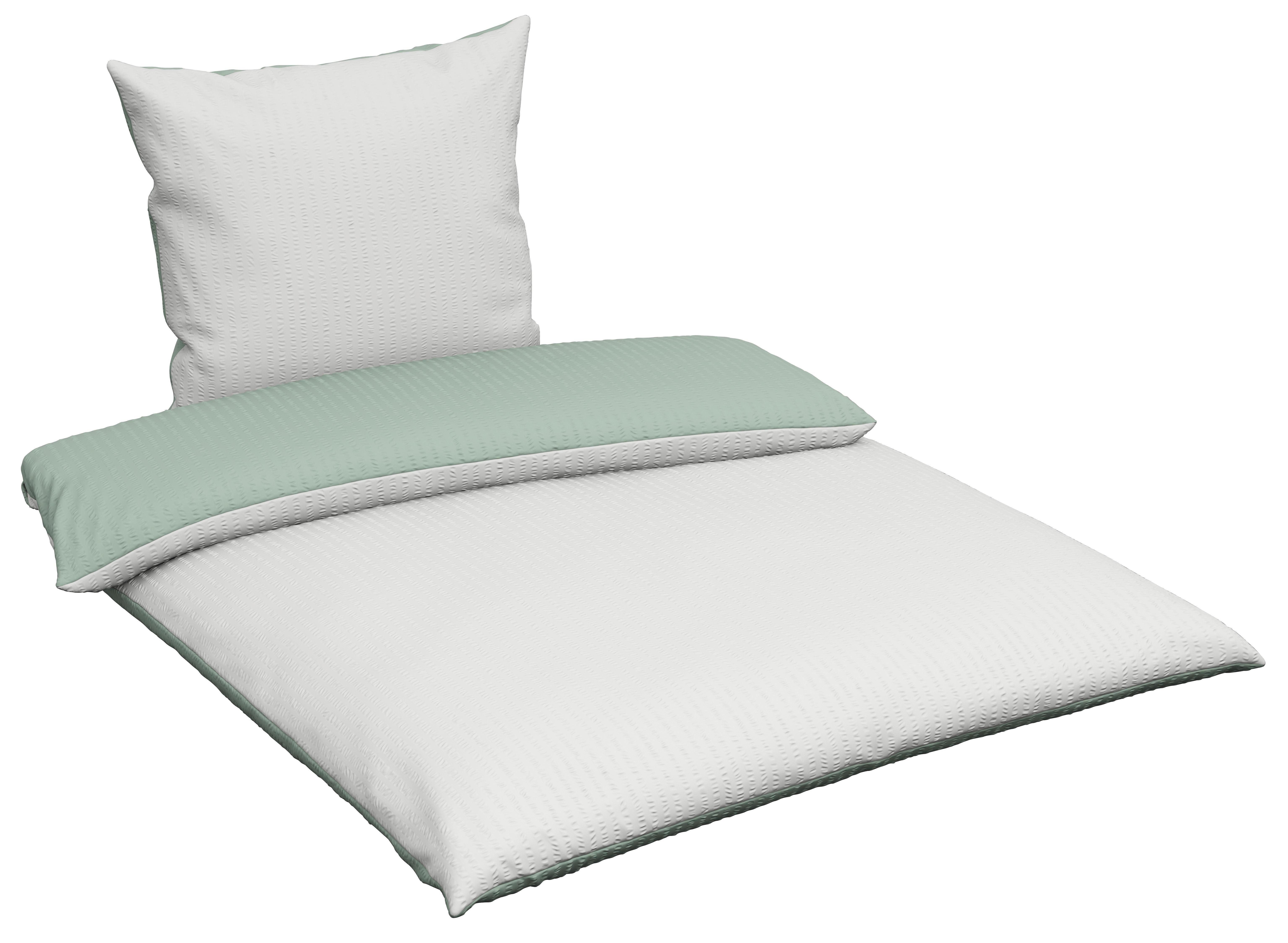 BETTWÄSCHE Seersucker Grün, Weiß 155/220 cm - Weiß/Grün, KONVENTIONELL, Textil (155/220cm) - NOVEL