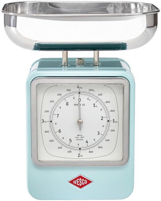 Retro Küchenwaage mit Uhr - Edelstahlfarben/Mintgrün, Basics, Metall (13/15/27cm) - Wesco