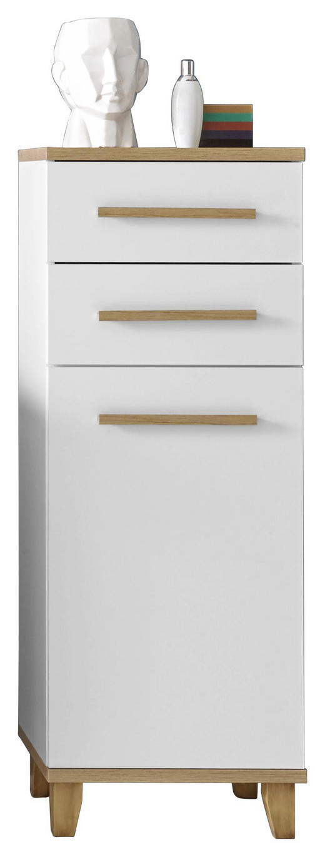 UNTERSCHRANK Weiß - Eichefarben/Weiß, Design, Holzwerkstoff/Kunststoff (45/121/30cm) - Xora