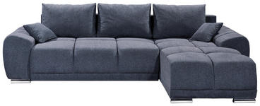 WOHNLANDSCHAFT in Textil Dunkelblau  - Silberfarben/Dunkelblau, MODERN, Kunststoff/Textil (289/189cm) - Carryhome