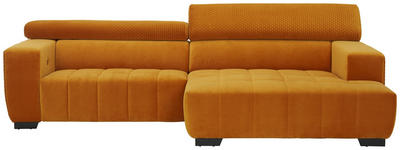 WOHNLANDSCHAFT in Textil Gelb  - Gelb/Schwarz, KONVENTIONELL, Textil/Metall (279/182cm) - Hom`in