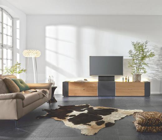 TV-ELEMENT Wildeiche furniert Eichefarben, Schwarz - Eichefarben/Schwarz, Design, Holz/Textil (303/49,8/57cm) - MUSTERRING