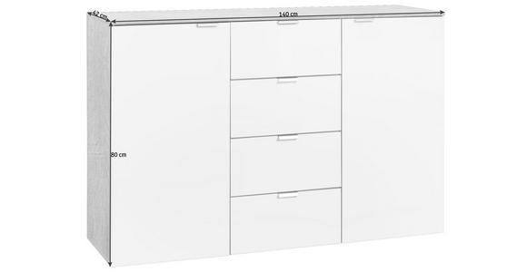 KOMMODE 140/80/42 cm  - Alufarben/Sonoma Eiche, Design, Holzwerkstoff/Metall (140/80/42cm) - Hom`in