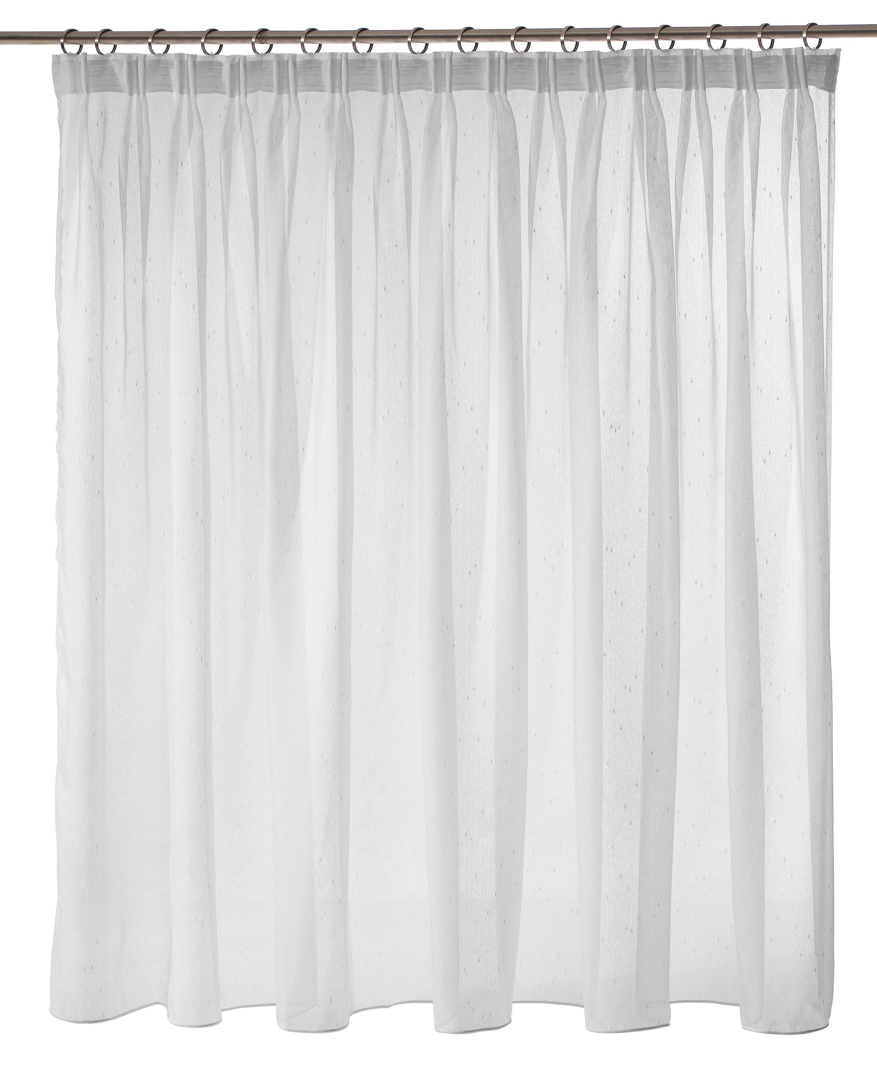 Elly-Jacquard-Fertiggardinen-Stores-Vorhang-Weiss-Langgardine  H//225 x B//300 cm