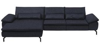 WOHNLANDSCHAFT in Textil Dunkelblau  - Schwarz/Dunkelblau, Design, Textil/Metall (181/341cm) - Dieter Knoll