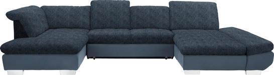 WOHNLANDSCHAFT in Textil Blau, Hellblau - Chromfarben/Blau, Design, Kunststoff/Textil (211/350/204cm) - Xora