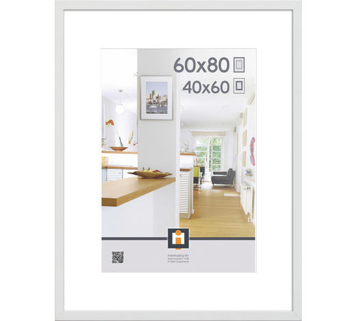 RÁM NA OBRAZY - bílá, Basics, umělá hmota/sklo (83/63/3cm)