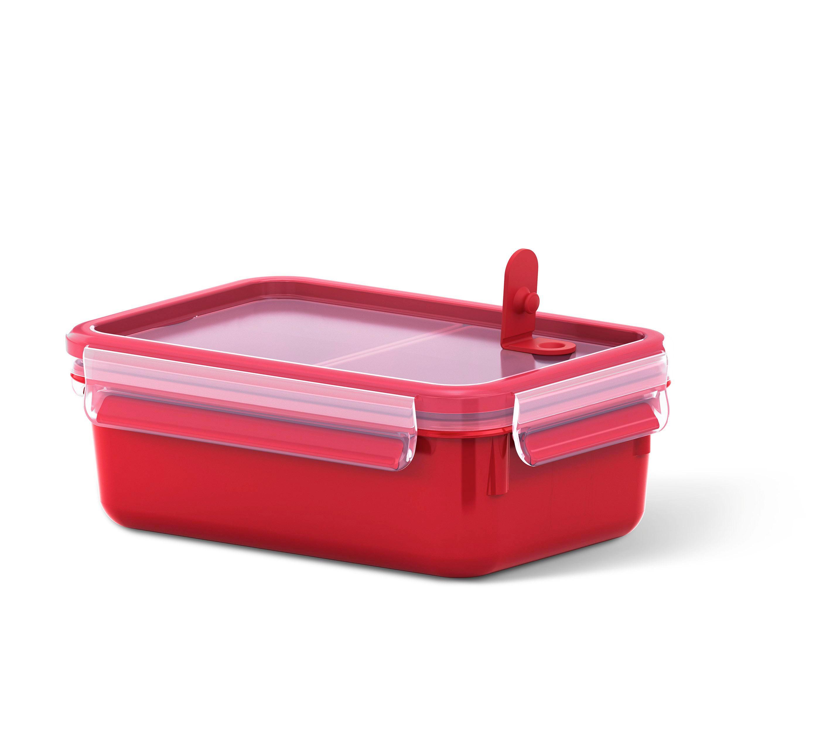 MIKROWELLENDOSE  1 l - Transparent/Rot, Design, Kunststoff (1l) - EMSA