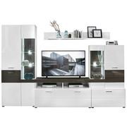 OBÝVACÍ STĚNA, bílá, šedá - bílá/šedá, Design, kov/dřevěný materiál (310/207/47cm) - Xora