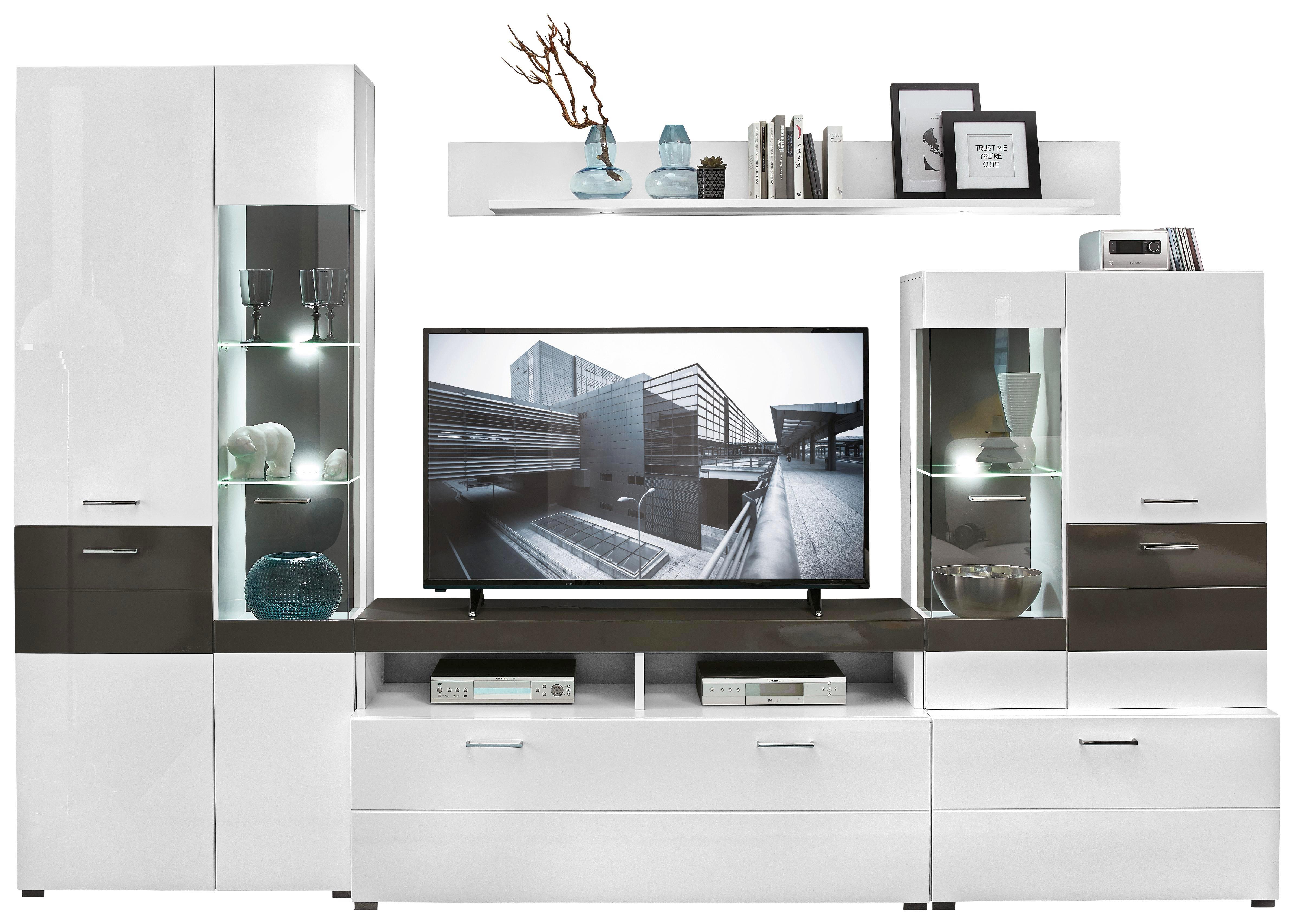 WOHNWAND Grau, Weiß   Alufarben/Weiß, Design, Glas/Holzwerkstoff (310