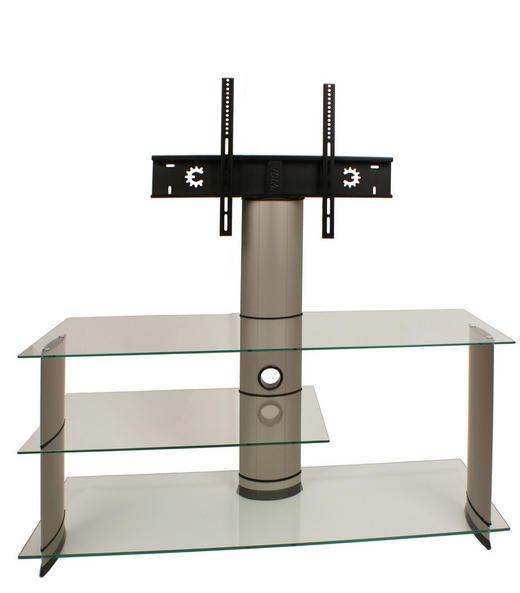 PHONOTISCH Glas, Metall Klar, Silberfarben - Klar/Silberfarben, KONVENTIONELL, Glas/Kunststoff (120/90/40cm)