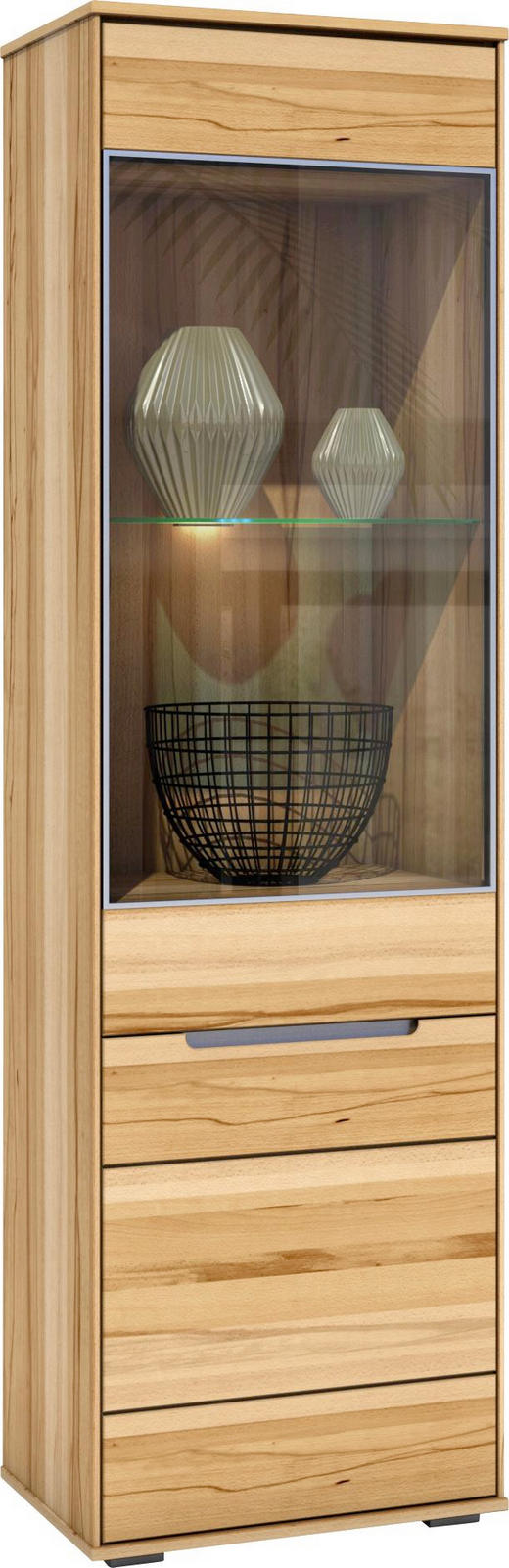 VITRINE Kernbuche massiv Buchefarben - Buchefarben, LIFESTYLE, Glas/Holz (60/203/42cm) - Carryhome