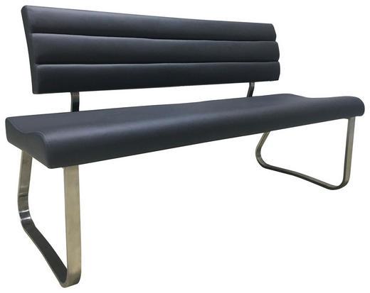 SITZBANK Lederlook Dunkelgrau, Edelstahlfarben - Edelstahlfarben/Dunkelgrau, Design, Textil/Metall (155/85/59cm) - Hom`in