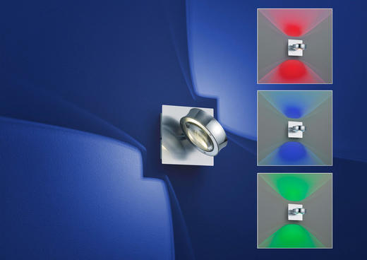 LED-WANDLEUCHTE - Transparent, Design, Glas (14/14cm)