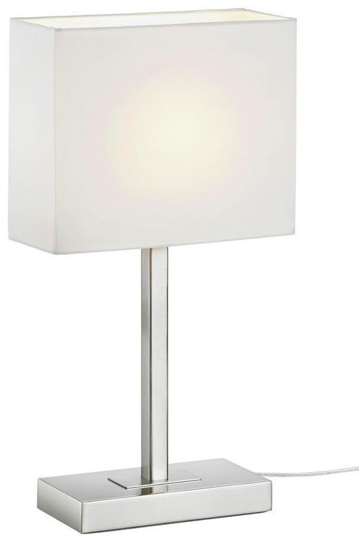 TISCHLEUCHTE - Weiß/Nickelfarben, Basics, Textil/Metall (48cm) - XORA