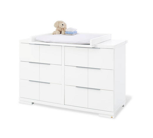 WICKELKOMMODE Pinolino Polar Weiß  - Alufarben/Weiß, Basics, Holzwerkstoff/Metall (140/98/78 bzw 55cm)