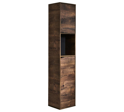 VYSOKÁ SKŘÍŇ, barvy dubu - šedá/barvy dubu, Konvenční, kov/kompozitní dřevo (39/188,7/33cm) - Xora