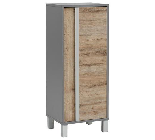 SEITENSCHRANK 40,5/103,5/33 cm - Eichefarben/Silberfarben, Design, Holzwerkstoff/Metall (40,5/103,5/33cm) - Stylife
