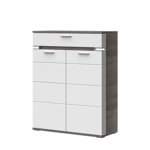 HIGHBOARD Melamin Braun, Grau, Weiß - Alufarben/Braun, Design, Metall (100,1/126,2/41cm) - Stylife