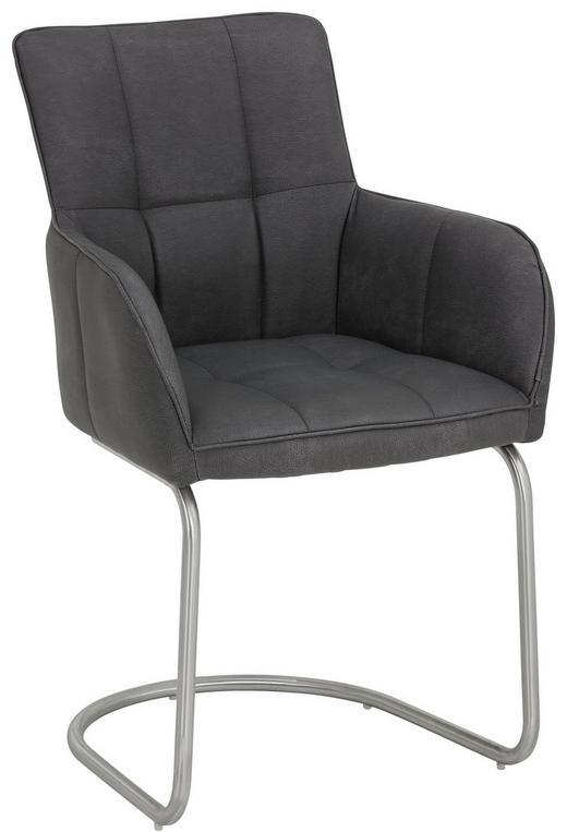 FÅTÖLJ - antracit/rostfritt stål-färgad, Design, metall/textil (59/91/62,5cm) - NOVEL