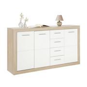 KOMMODE Weiß, Eichefarben  - Eichefarben/Silberfarben, Design, Holz/Kunststoff (152/88/37cm) - Boxxx