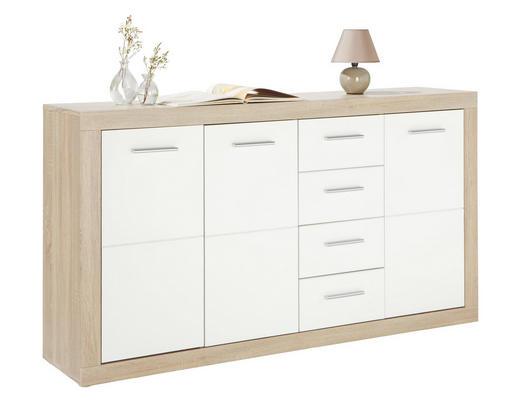 KOMMODE Eichefarben, Weiß - Eichefarben/Silberfarben, Design, Holz/Kunststoff (152/88/37cm) - Boxxx