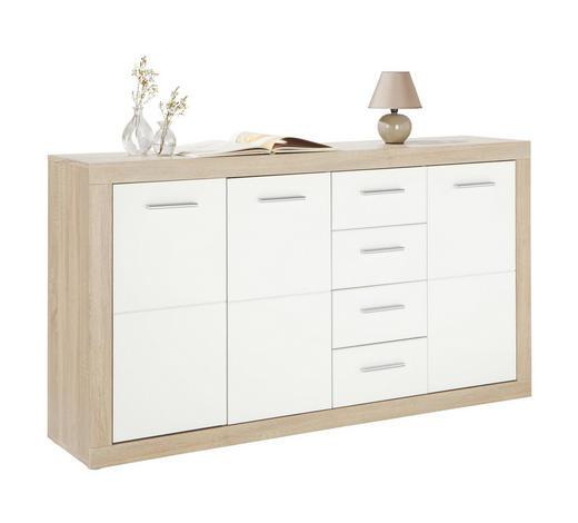 KOMODA, kompozitní dřevo, bílá, barvy dubu - bílá/barvy stříbra, Design, dřevo/kompozitní dřevo (152/88/37cm) - Boxxx