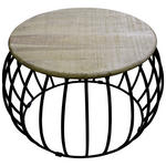 COUCHTISCH Akazie rund Schwarz, Akaziefarben  - Schwarz/Akaziefarben, Design, Holz/Metall (65/65/45cm) - Carryhome