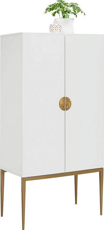 KOMODA - bílá/bronzová, Design, kov/dřevěný materiál (70/140/40cm) - CARRYHOME